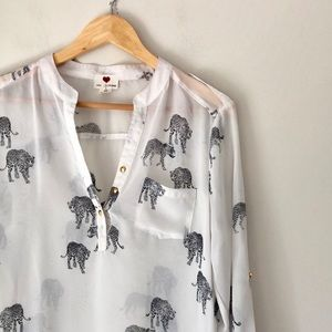 One Clothing White Leopard Print Blouse